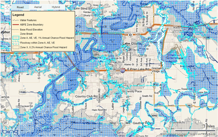 Lake Charles Area Flood Map